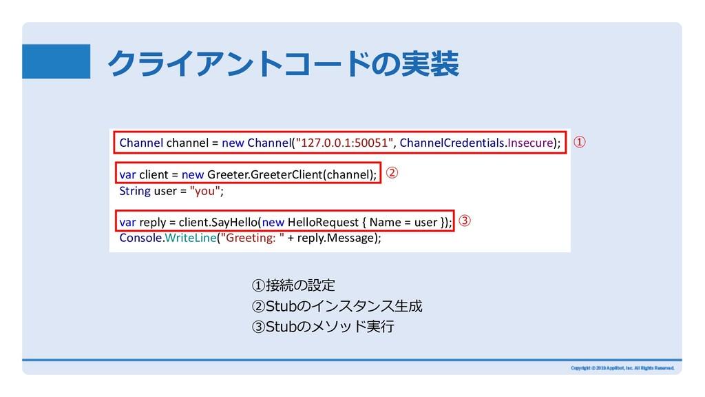 クライアントコードの実装 ①接続の設定 ②Stubのインスタンス⽣成 ③Stubのメソッド実⾏...