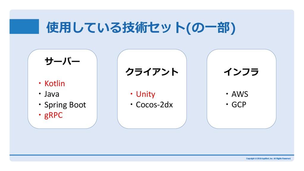 使⽤している技術セット(の⼀部) サーバー ・Kotlin ・Java ・Spring Boo...
