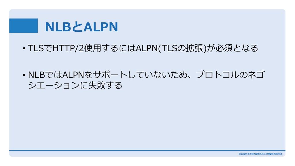 NLBとALPN • TLSでHTTP/2使⽤するにはALPN(TLSの拡張)が必須となる •...