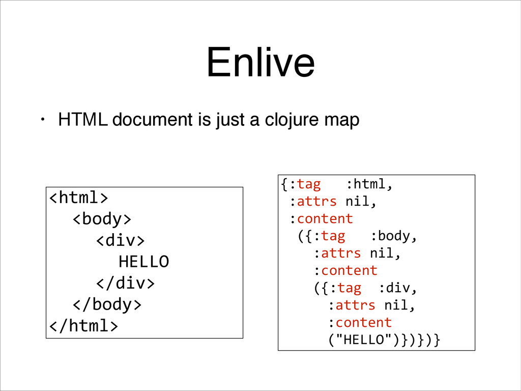 Enlive • HTML document is just a clojure map <h...