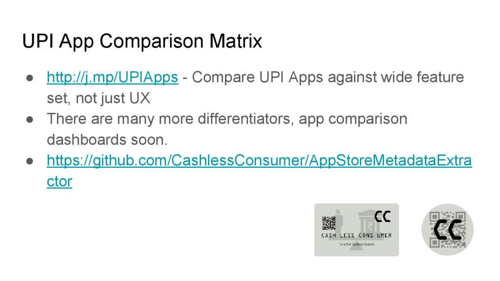 UPI App Comparison Matrix ● http://j.mp/UPIApps...