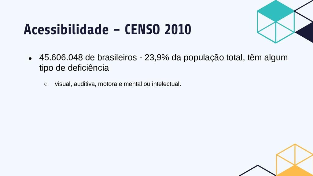 Acessibilidade – CENSO 2010 ● 45.606.048 de bra...