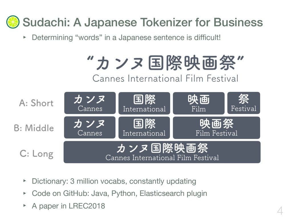 """‣ Determining """"words"""" in a Japanese sentence is..."""