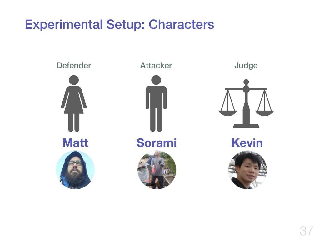 Experimental Setup: Characters !37 Defender Att...