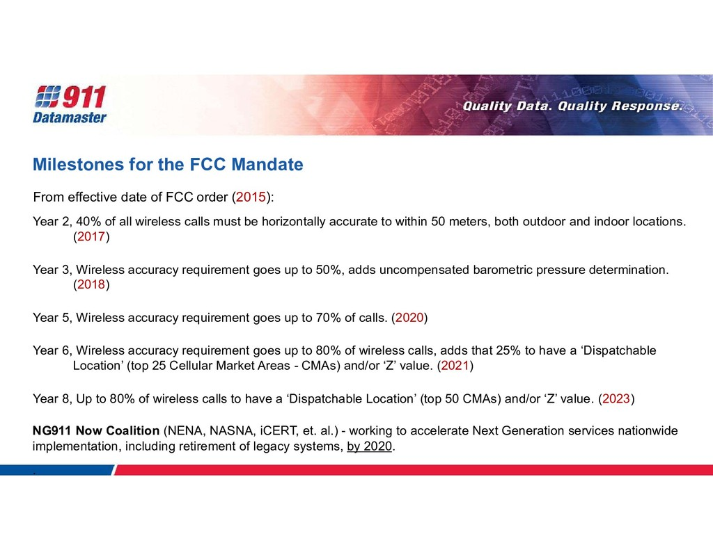 Milestones for the FCC Mandate From effective d...
