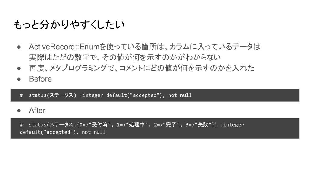 もっと分かりやすくしたい ● ActiveRecord::Enumを使っている箇所は、カラムに...