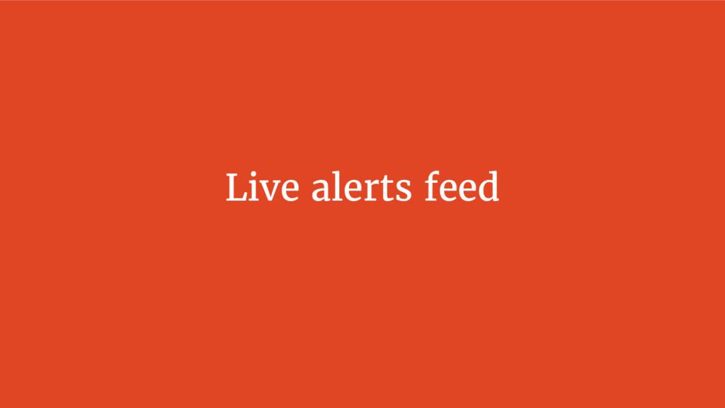 Live alerts feed
