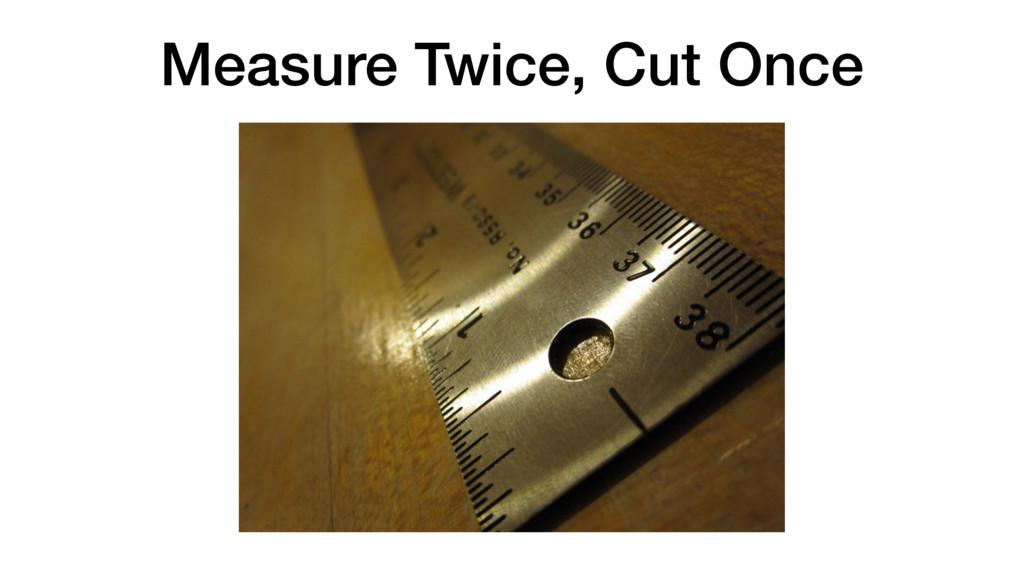 Measure Twice, Cut Once