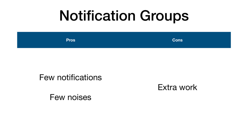 Notification Groups Pros Cons Few notifications  ...
