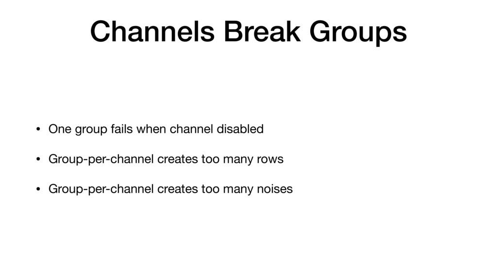 Channels Break Groups • One group fails when ch...