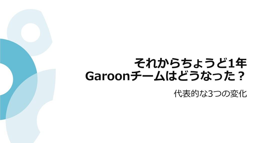それからちょうど1年 Garoonチームはどうなった︖ 代表的な3つの変化