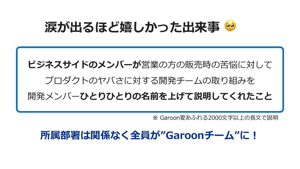 """涙が出るほど嬉しかった出来事  所属部署は関係なく全員が""""Garoonチーム""""に︕ ビジネスサ..."""