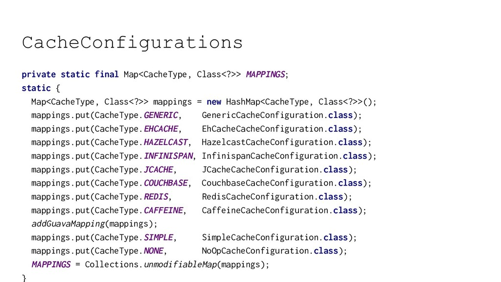 CacheConfigurations private static final Map<Ca...