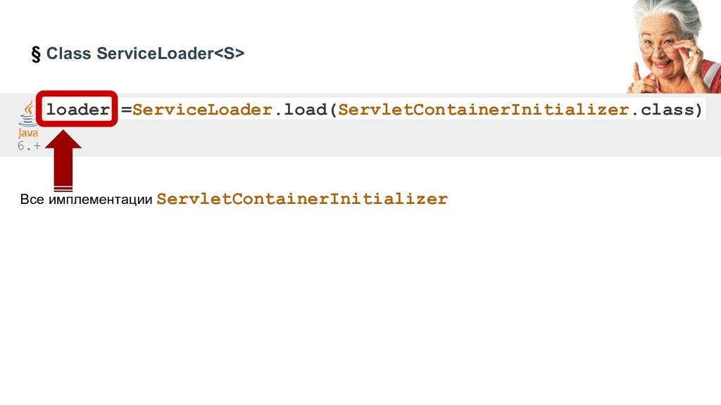 § Class ServiceLoader<S> loader =ServiceLoader....