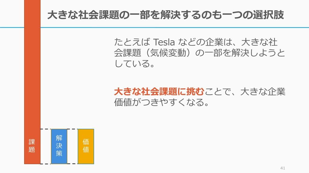 大きな社会課題の一部を解決するのも一つの選択肢 たとえば Tesla などの企業は、大きな社 ...