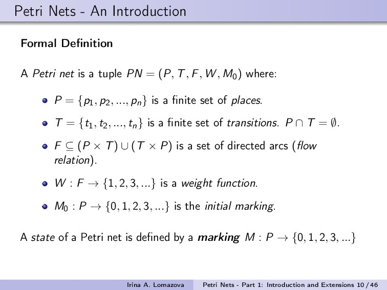 Petri Nets - An Introduction Formal Definition A...