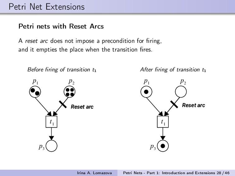 Petri Net Extensions Petri nets with Reset Arcs...