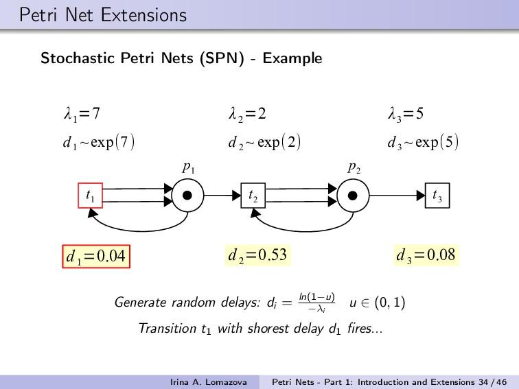 Petri Net Extensions Stochastic Petri Nets (SPN...