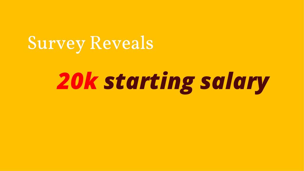 20k starting salary Survey Reveals