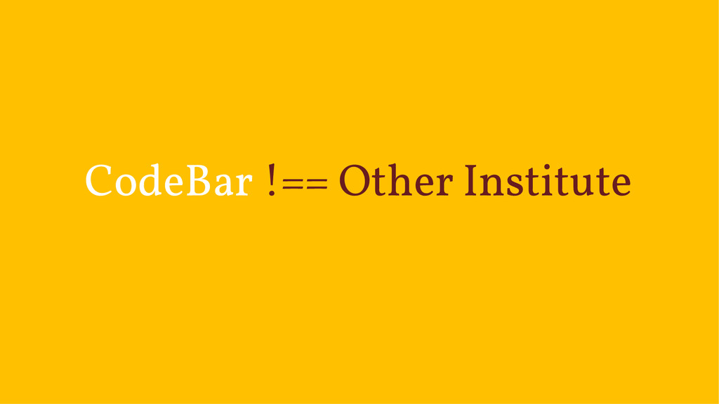CodeBar !== Other Institute