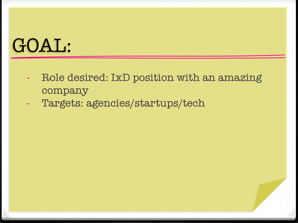 """"""" GOAL:  - Role desired: IxD position with an..."""