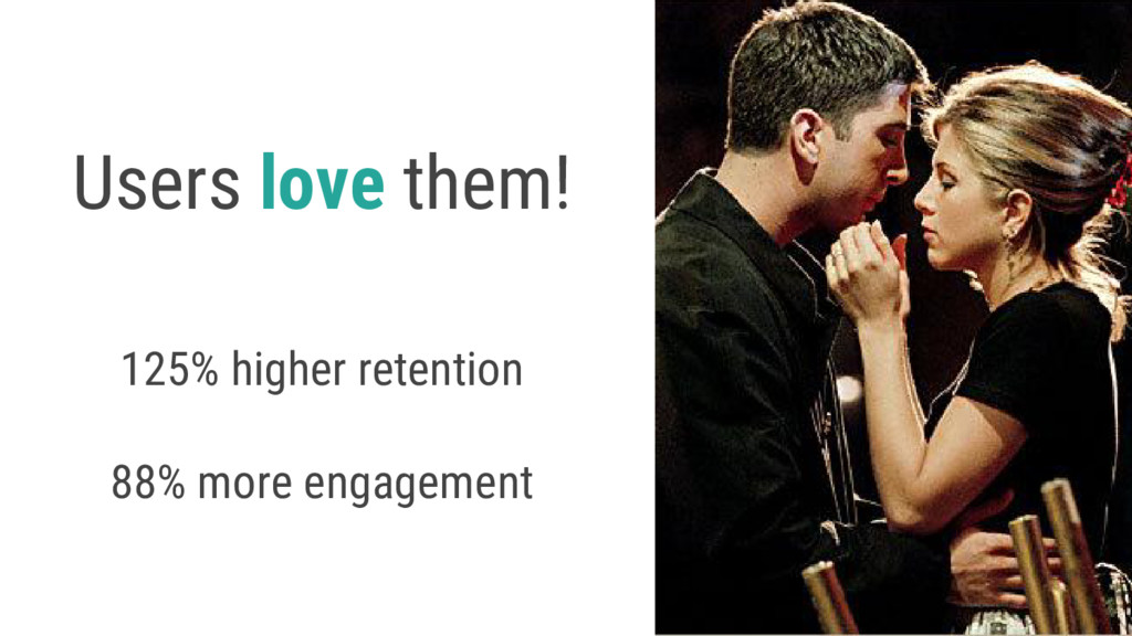 Users love them! 125% higher retention 88% more...