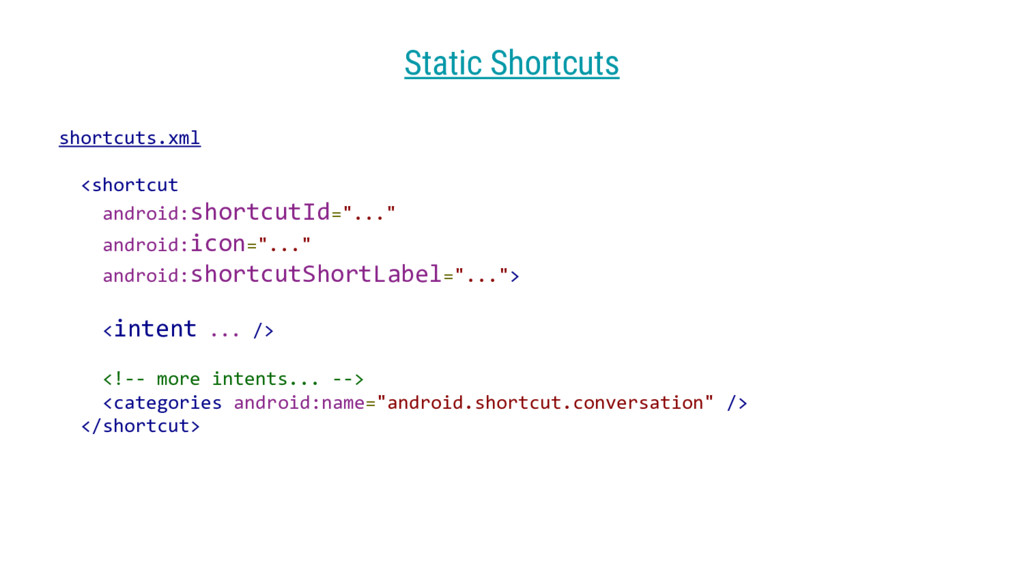 "shortcuts.xml <shortcut android:shortcutId=""......"
