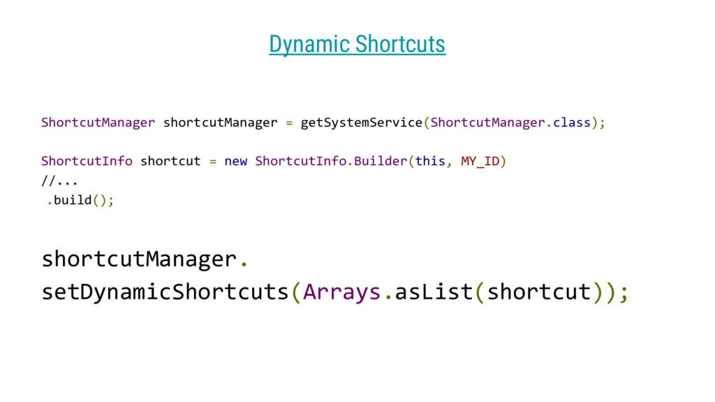 shortcutManager. setDynamicShortcuts(Arrays.asL...
