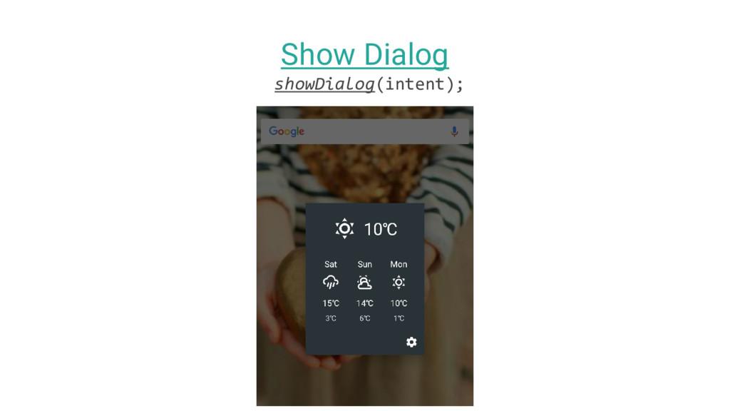 Show Dialog showDialog(intent);
