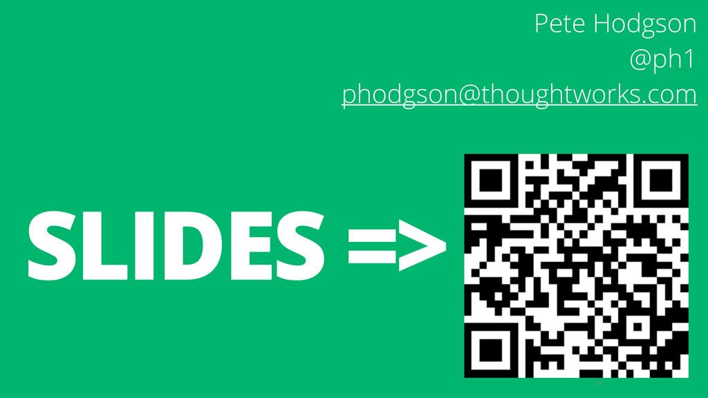 57 SLIDES => Pete Hodgson @ph1 phodgson@though...