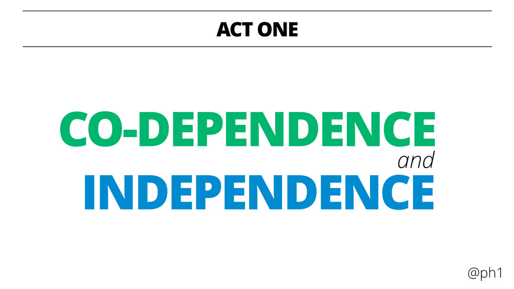@ph1 ACT ONE INDEPENDENCE CO-DEPENDENCE and