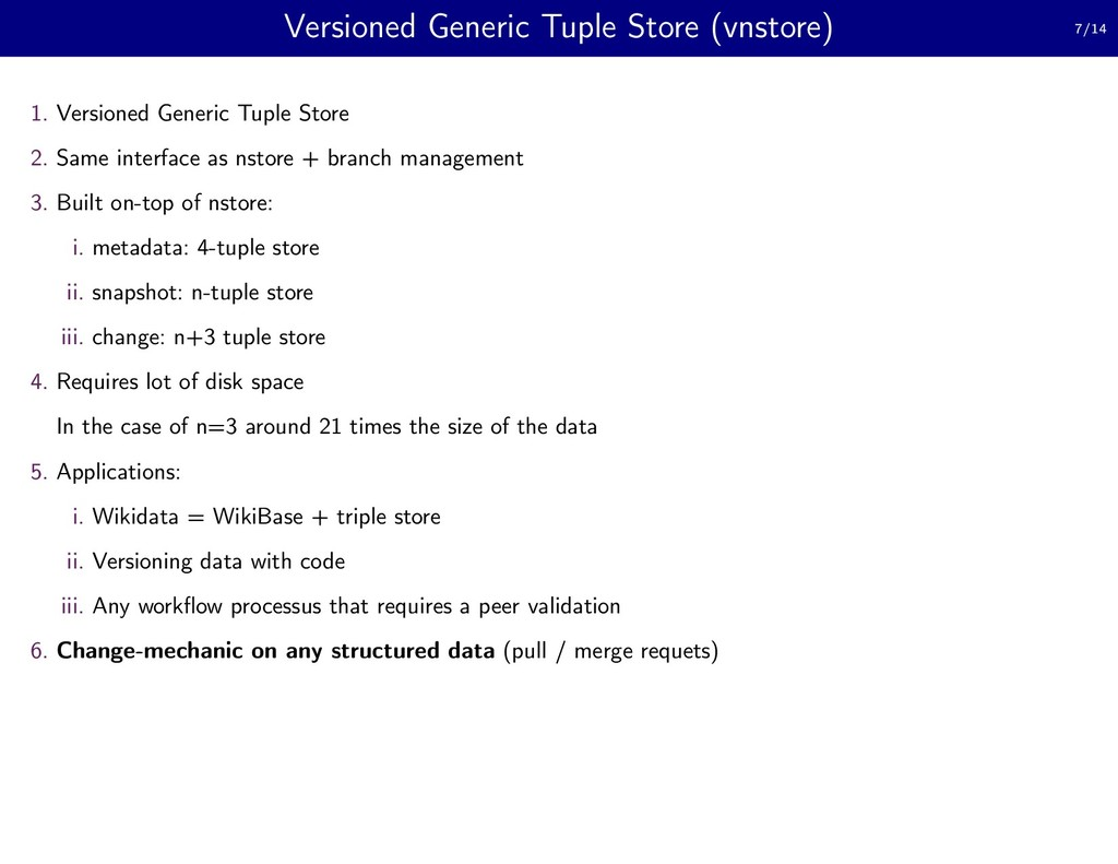 Versioned Generic Tuple Store (vnstore) 7/14 1....