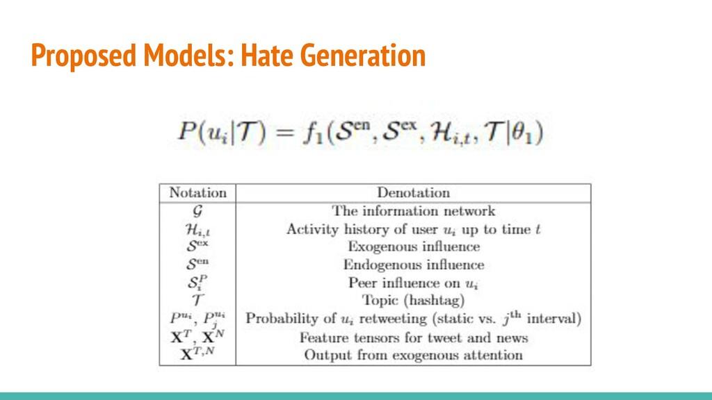 Proposed Models: Hate Generation