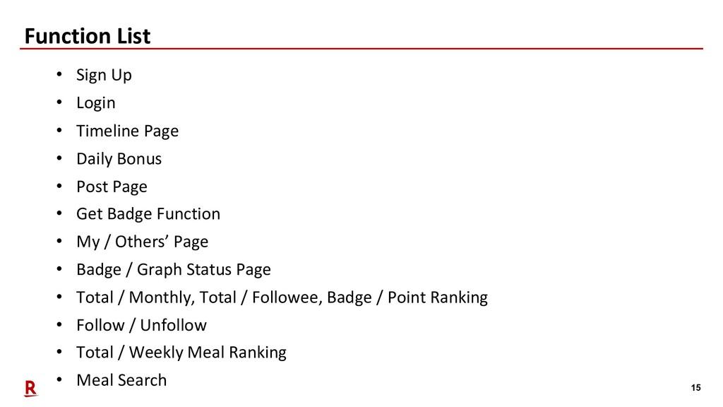 15 Function List • Sign Up • Login • Timeline P...