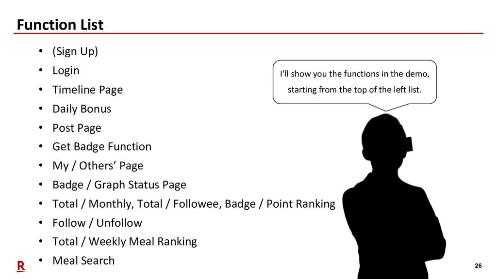 26 Function List • (Sign Up) • Login • Timeline...