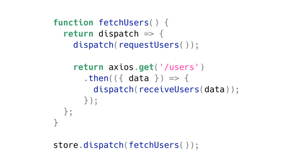 function fetchUsers() { return dispatch => { di...