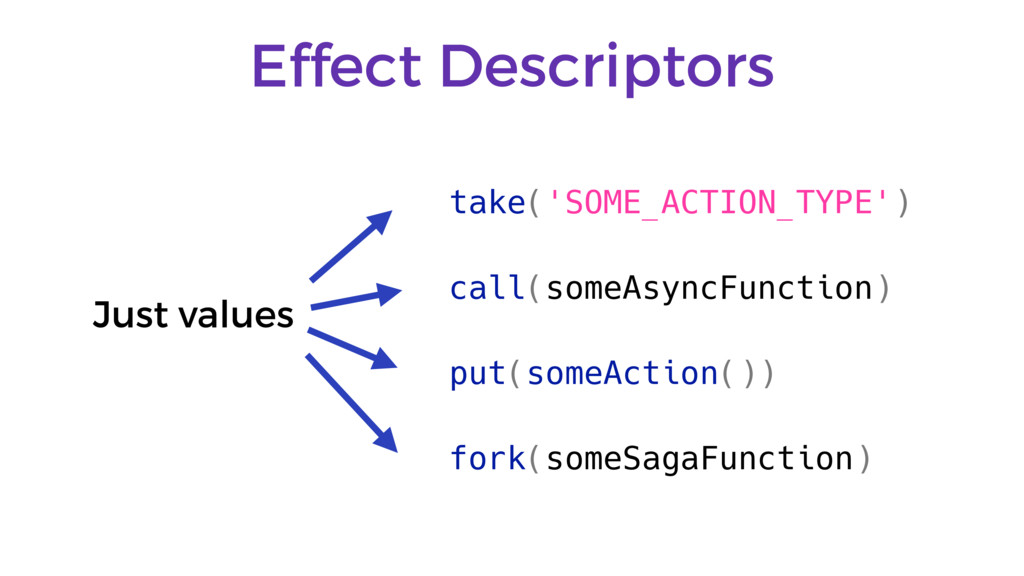 Effect Descriptors take('SOME_ACTION_TYPE') cal...