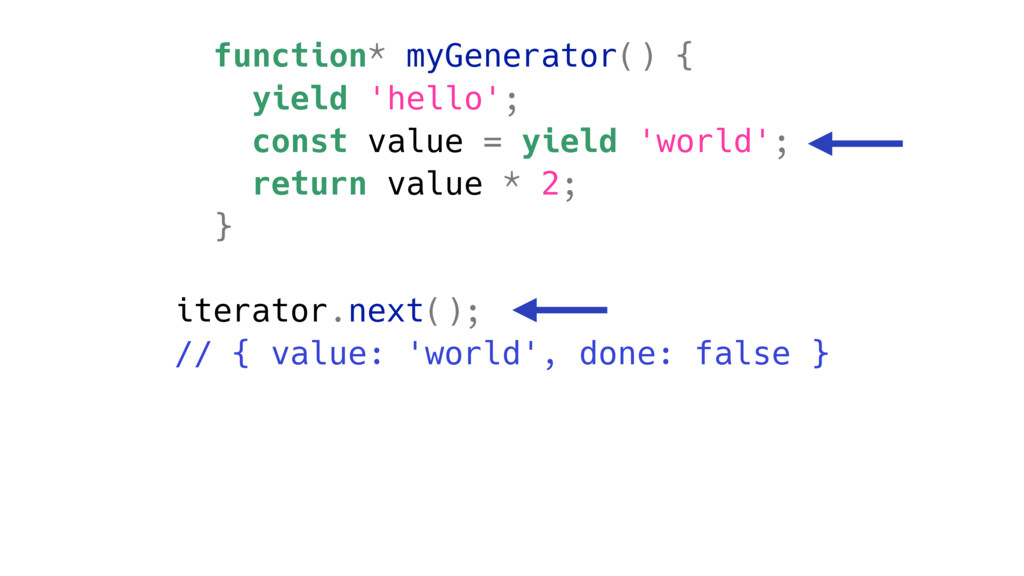 function* myGenerator() { yield 'hello'; const ...