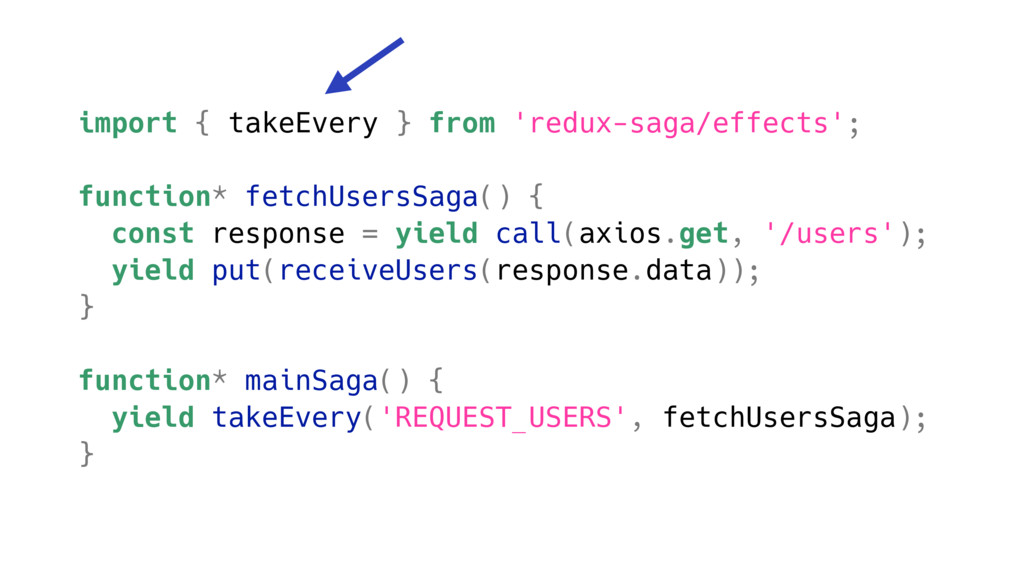 import { takeEvery } from 'redux-saga/effects';...