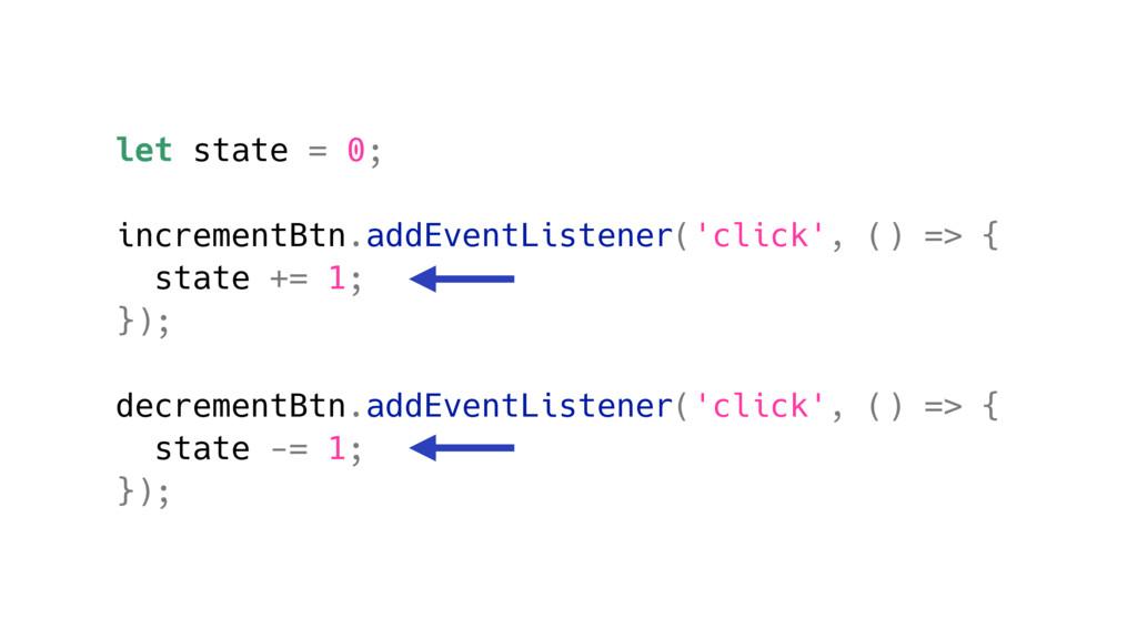 let state = 0; incrementBtn.addEventListener('c...