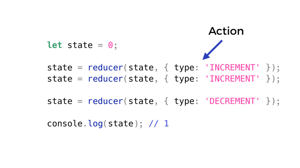 let state = 0; state = reducer(state, { type: '...