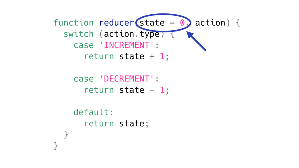function reducer(state = 0, action) { switch (a...