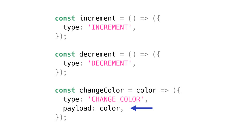 const increment = () => ({ type: 'INCREMENT', }...