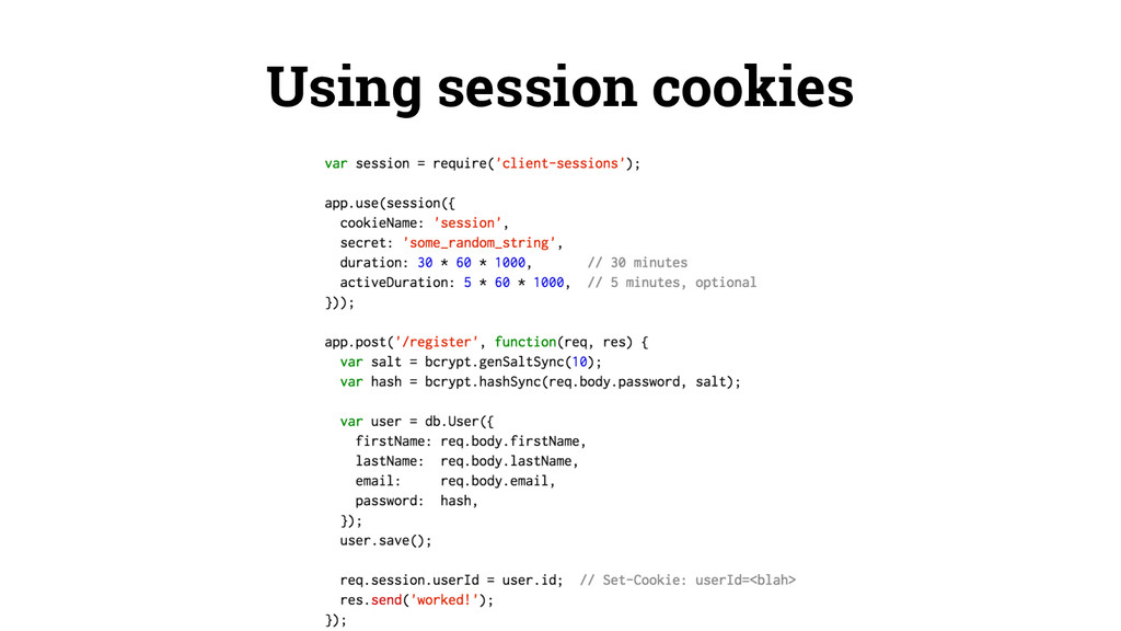 Using session cookies