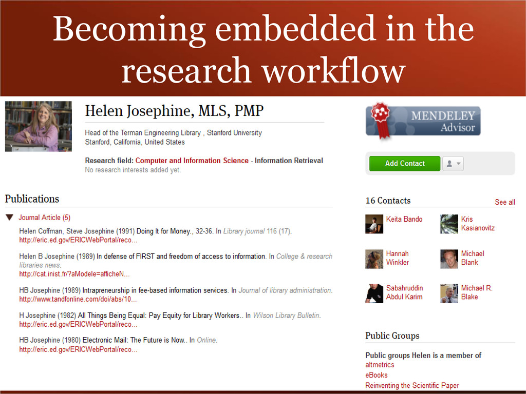 Becoming embedded in the research workflow