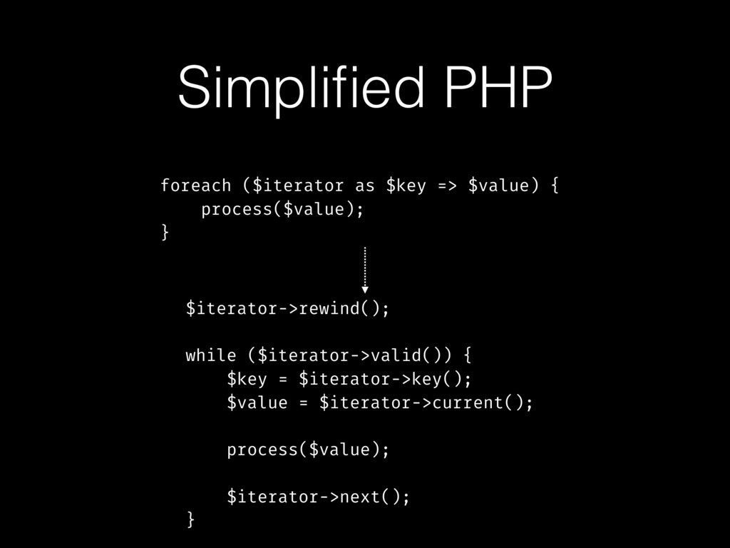 Simplified PHP foreach ($iterator as $key => $va...