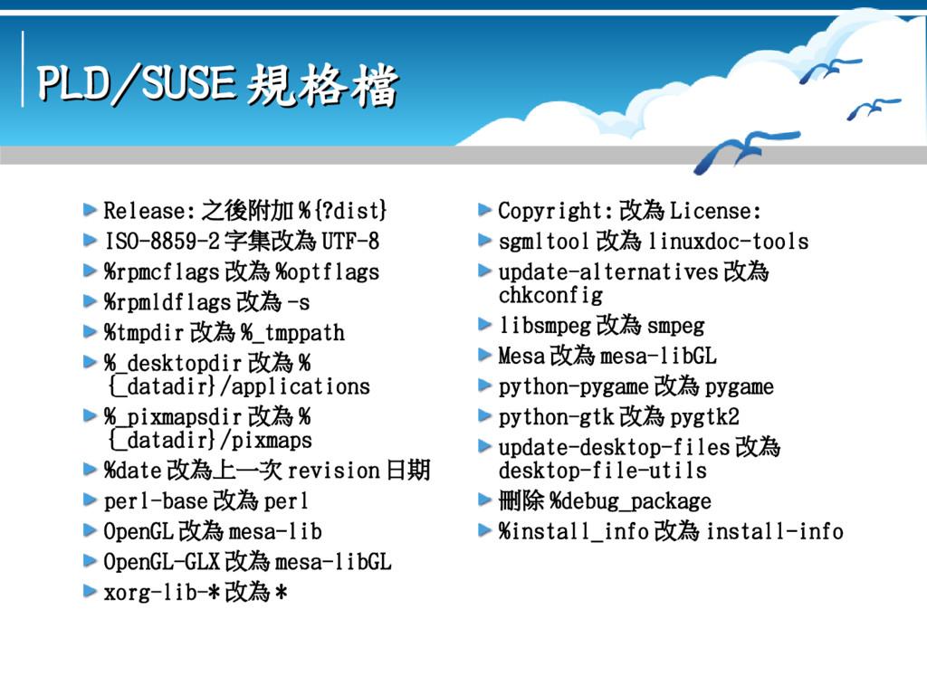 PLD/SUSE PLD/SUSE 規格檔 規格檔 Release: 之後附加 %{?dist...