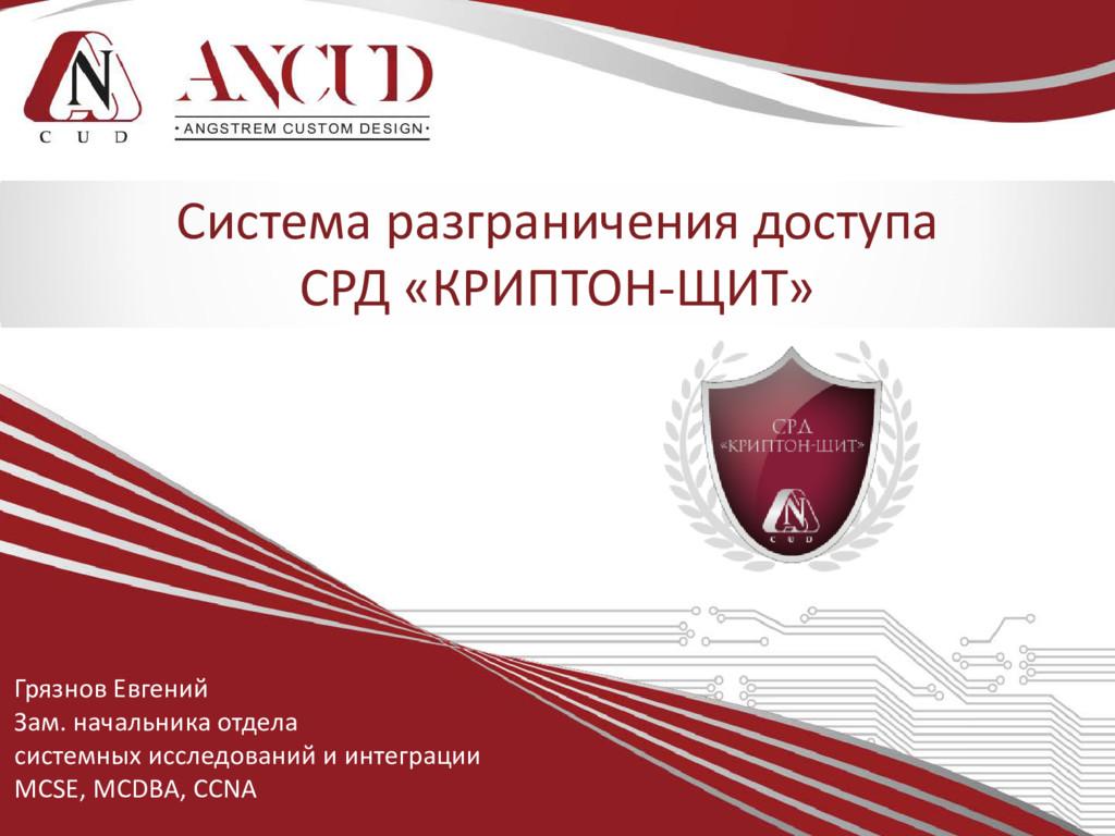 Грязнов Евгений Зам. начальника отдела системны...
