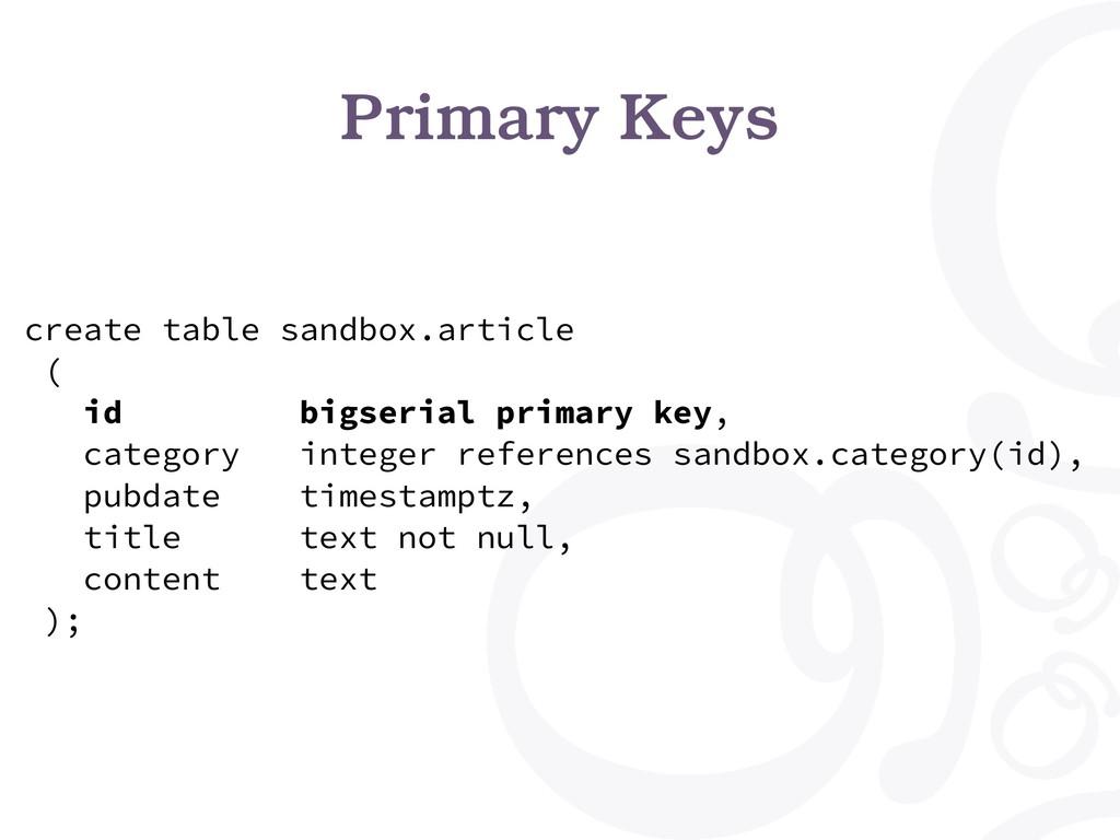 Primary Keys create table sandbox.article ( id ...