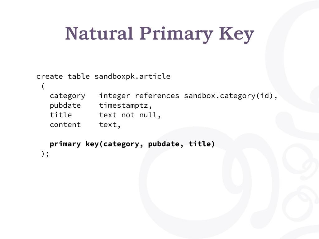 Natural Primary Key create table sandboxpk.arti...
